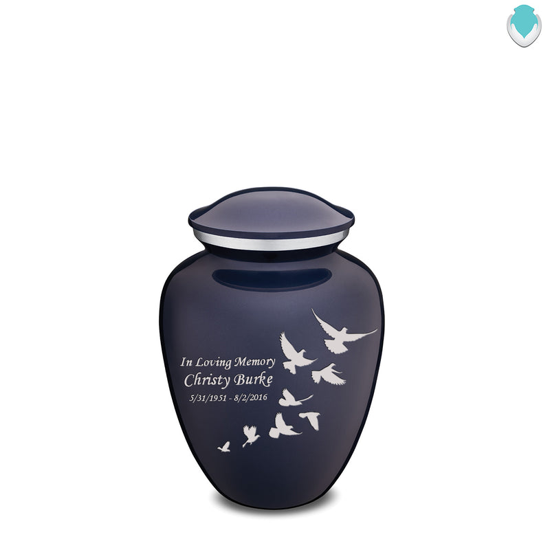 Medium Embrace Cobalt Blue Doves Cremation Urn
