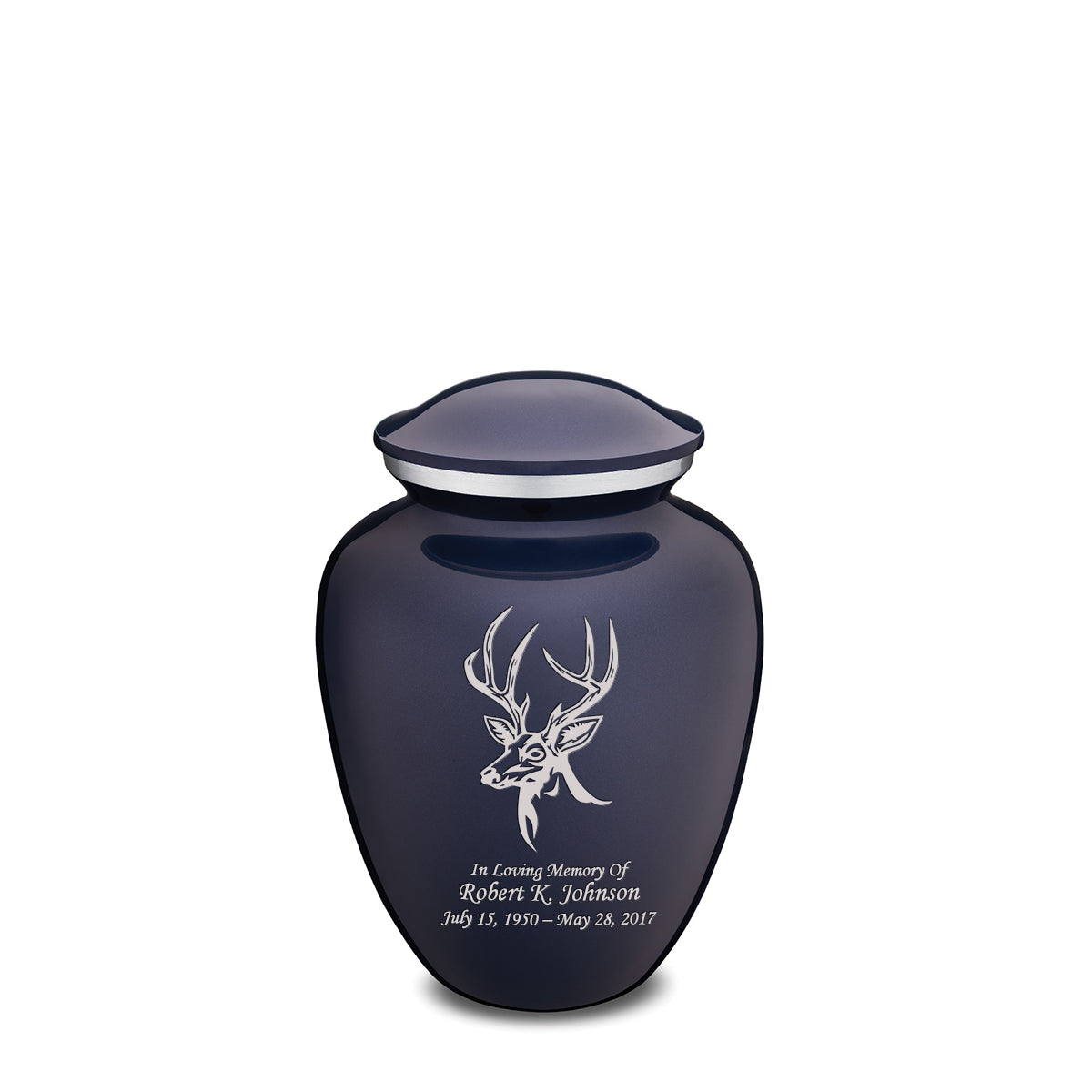 Medium Embrace Cobalt Blue Deer Cremation Urn