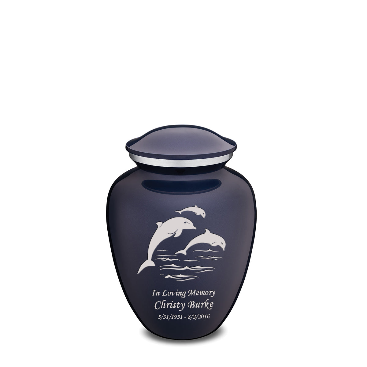 Medium Cobalt Blue Embrace Dolphins Cremation Urn