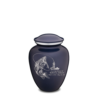 Medium Cobalt Blue Embrace Fishing Cremation Urn