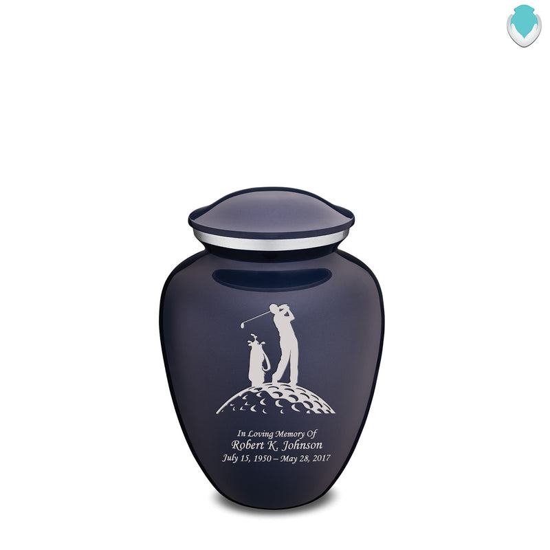 Medium Cobalt Blue Embrace Golfer Cremation Urn