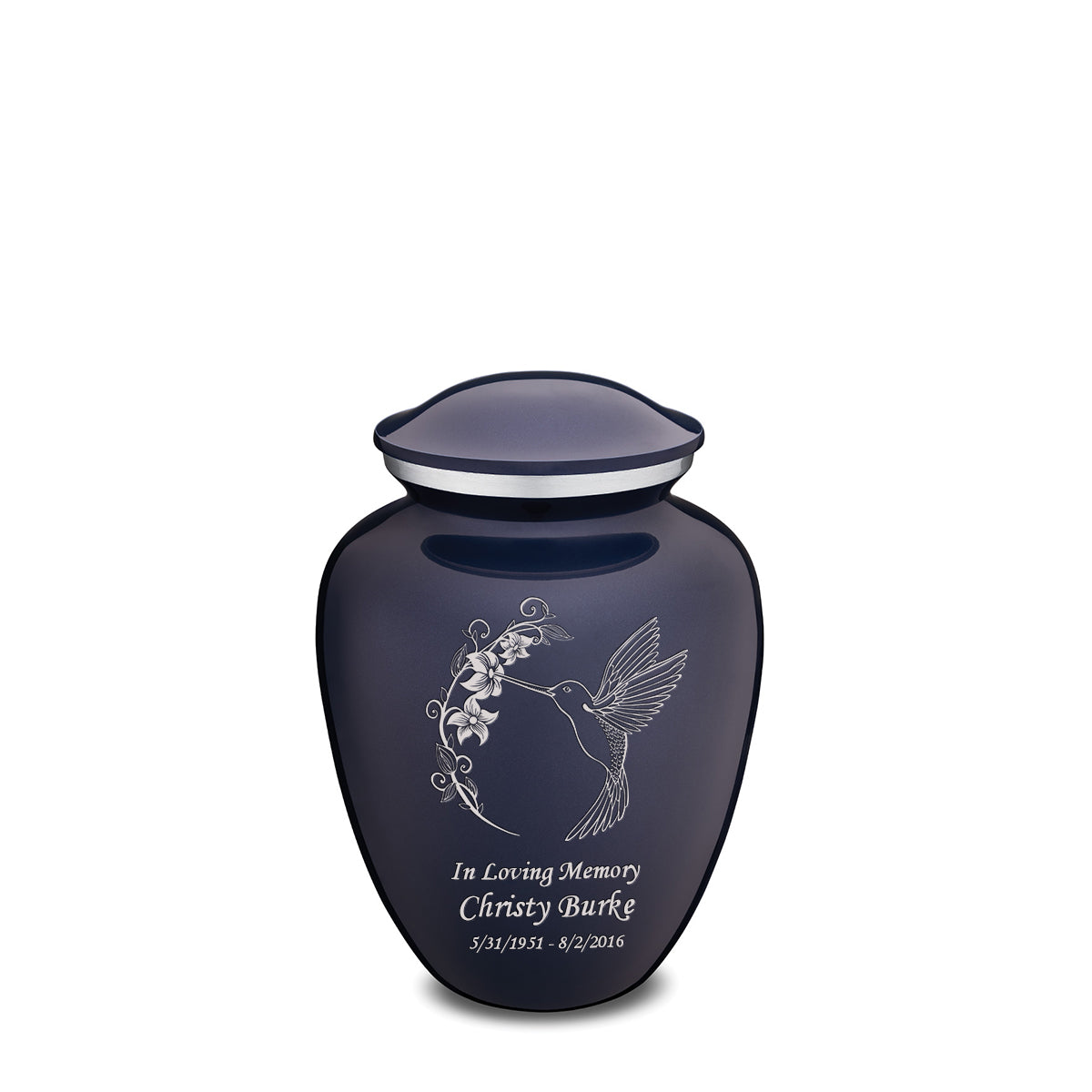 Medium Embrace Cobalt Blue Hummingbird Cremation Urn