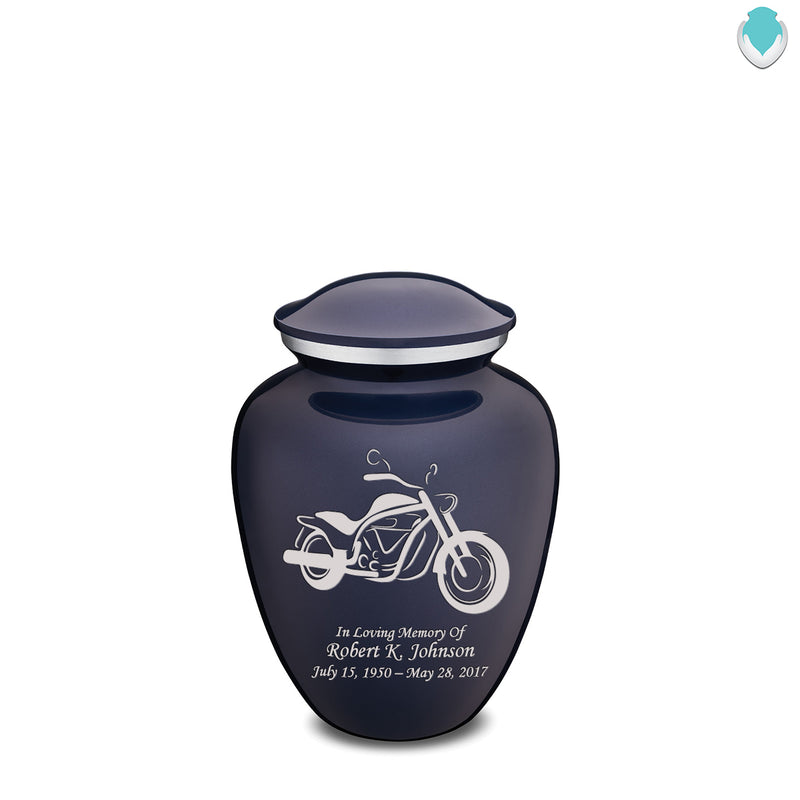 Medium Embrace Cobalt Blue Motorcycle Cremation Urn