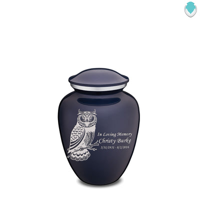 Medium Embrace Cobalt Blue Owl Cremation Urn