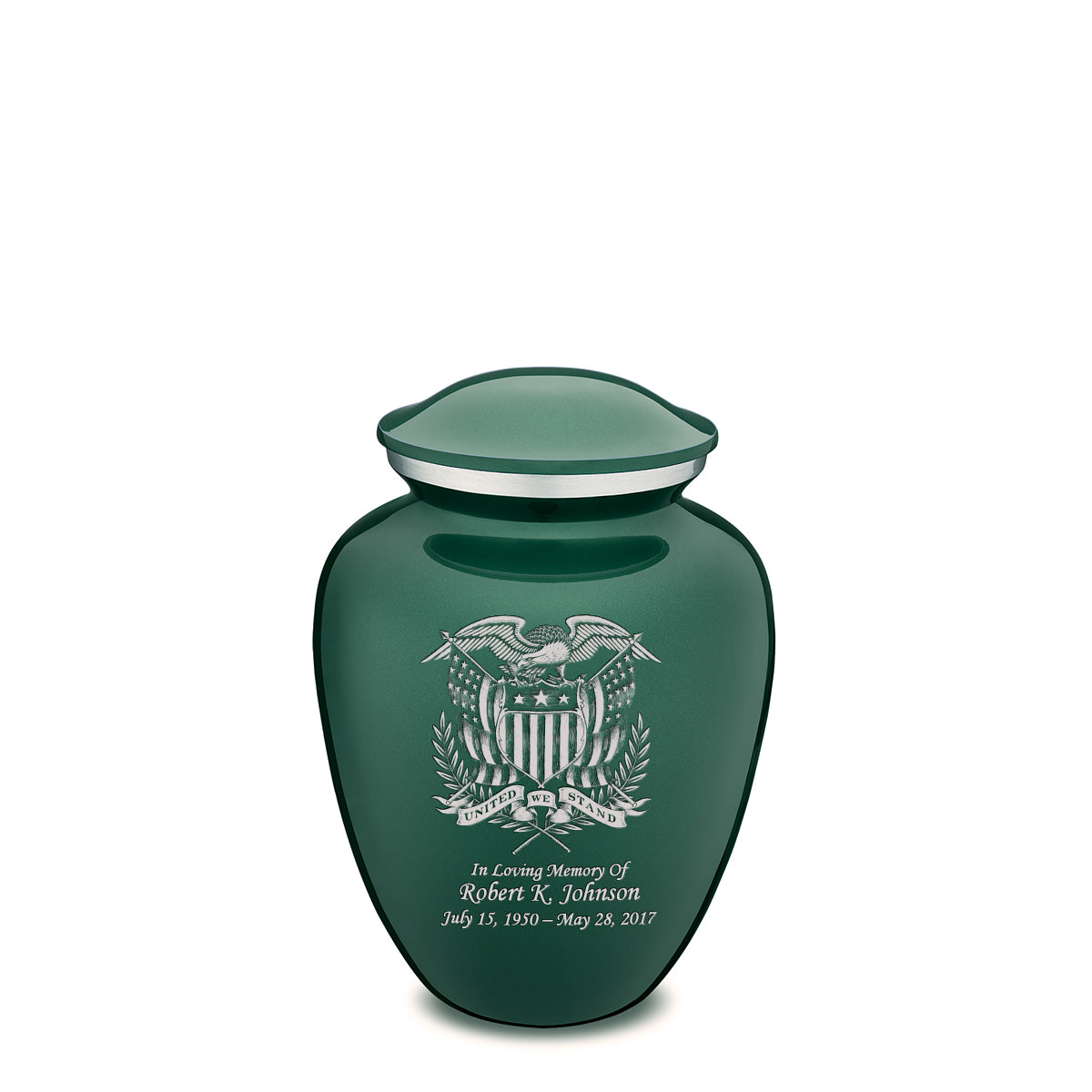 Medium Embrace Green American Glory Cremation Urn