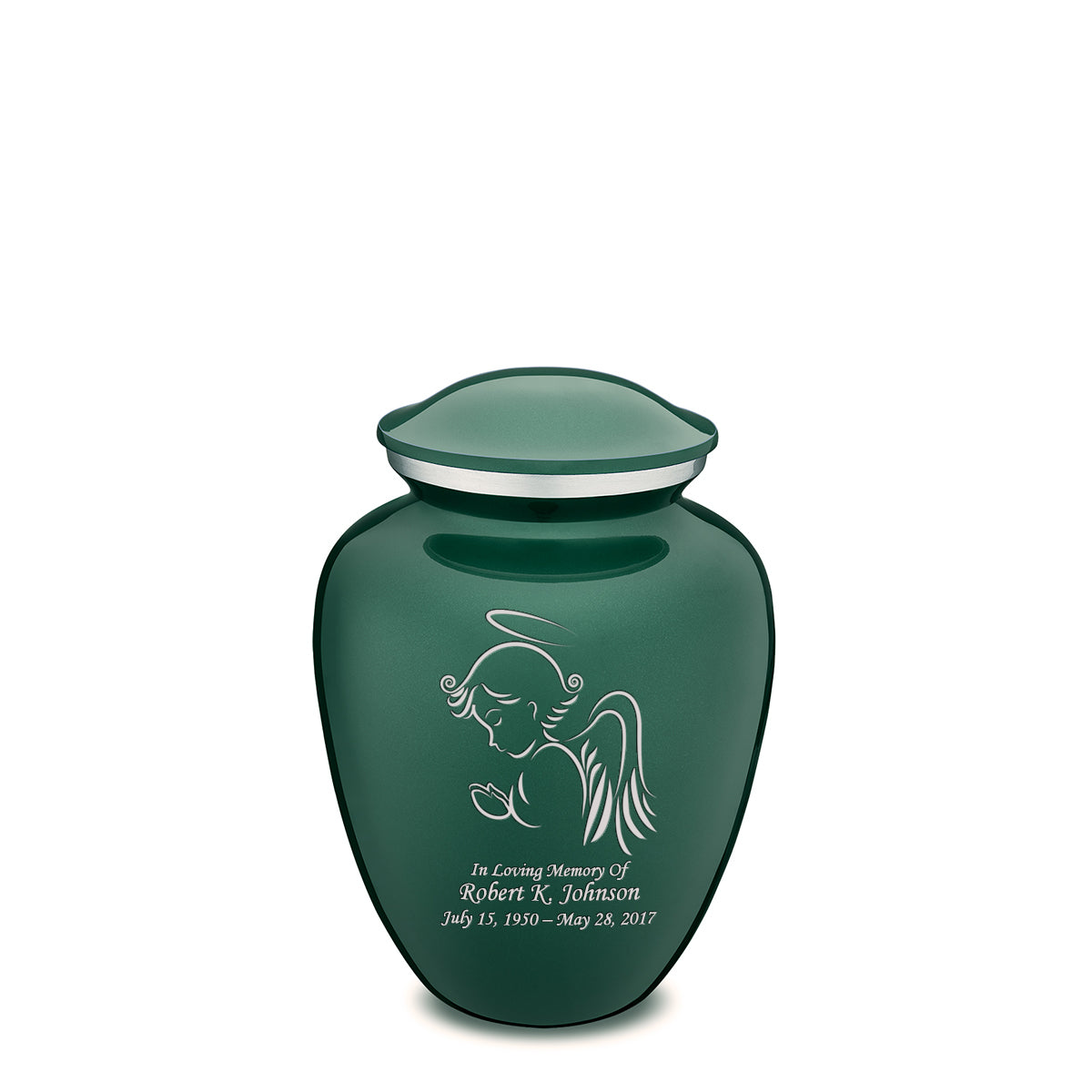Medium Green Embrace Angel Cremation Urn