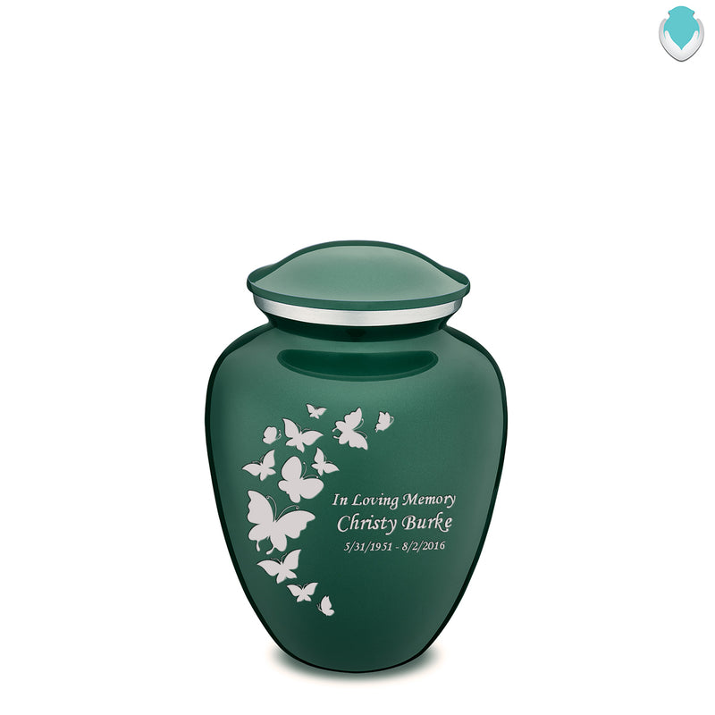 Medium Embrace Green Butterfly Cremation Urn