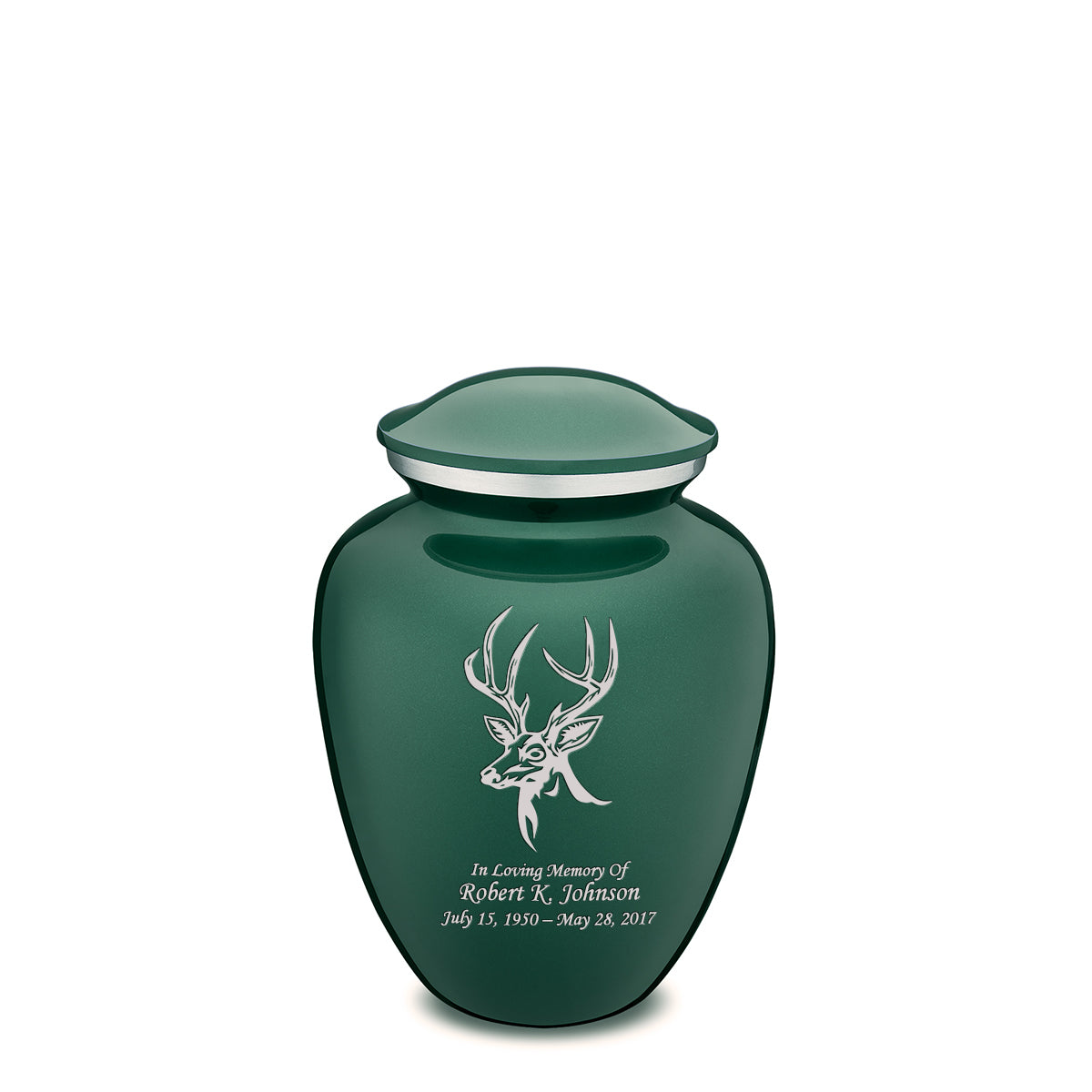 Medium Embrace Green Deer Cremation Urn