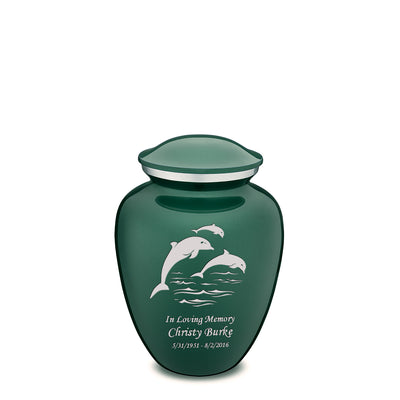 Medium Green Embrace Dolphins Cremation Urn