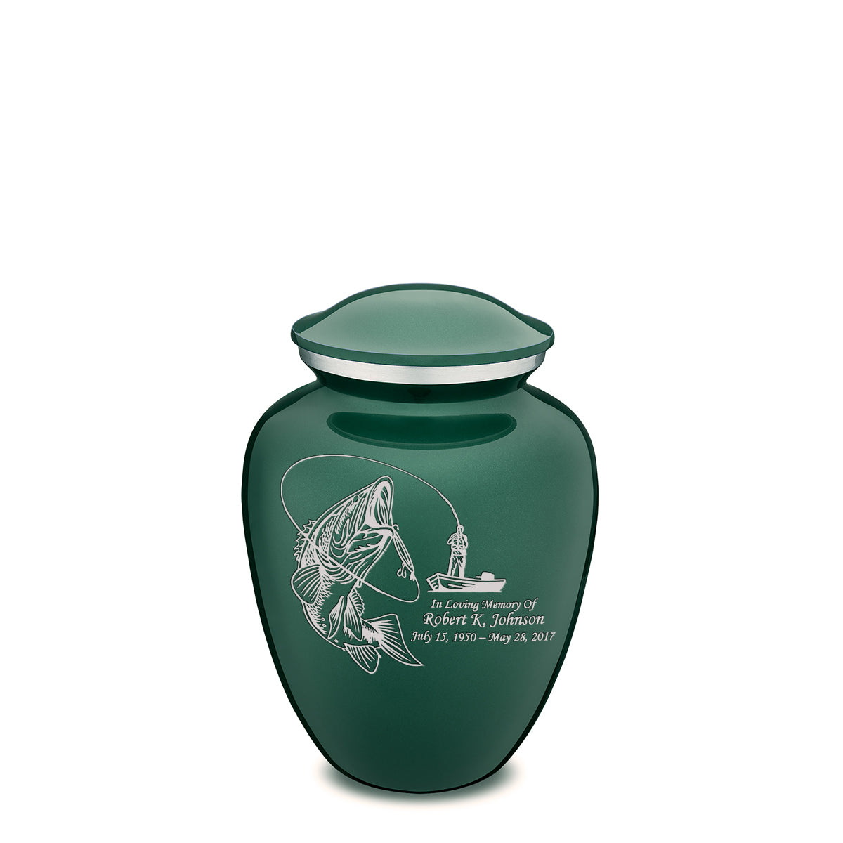 Medium Green Embrace Fishing Cremation Urn