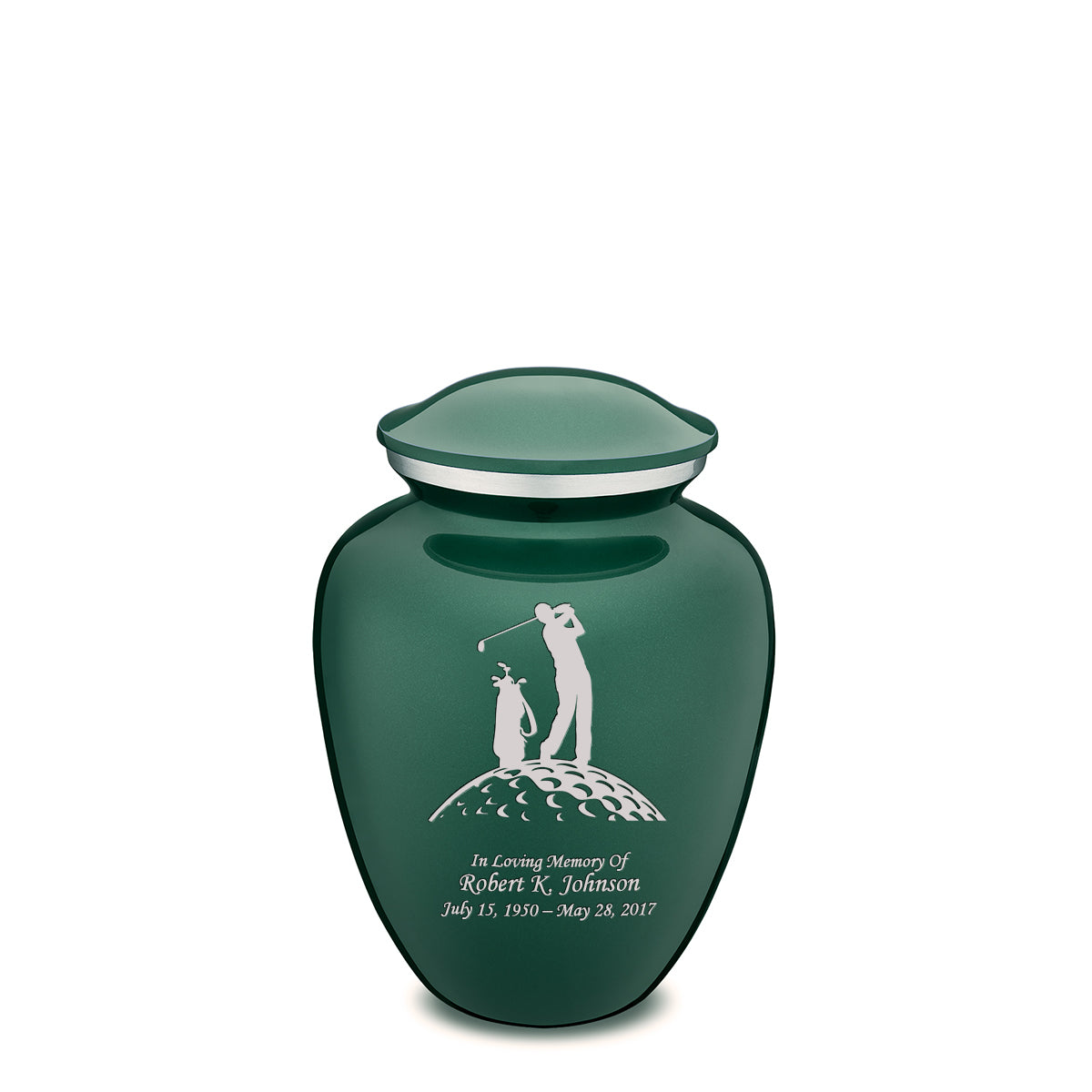Medium Green Embrace Golfer Cremation Urn
