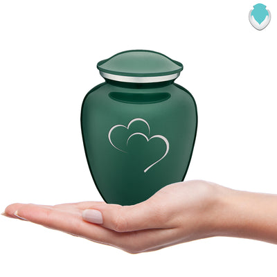 Medium Green Embrace Hearts Cremation Urn