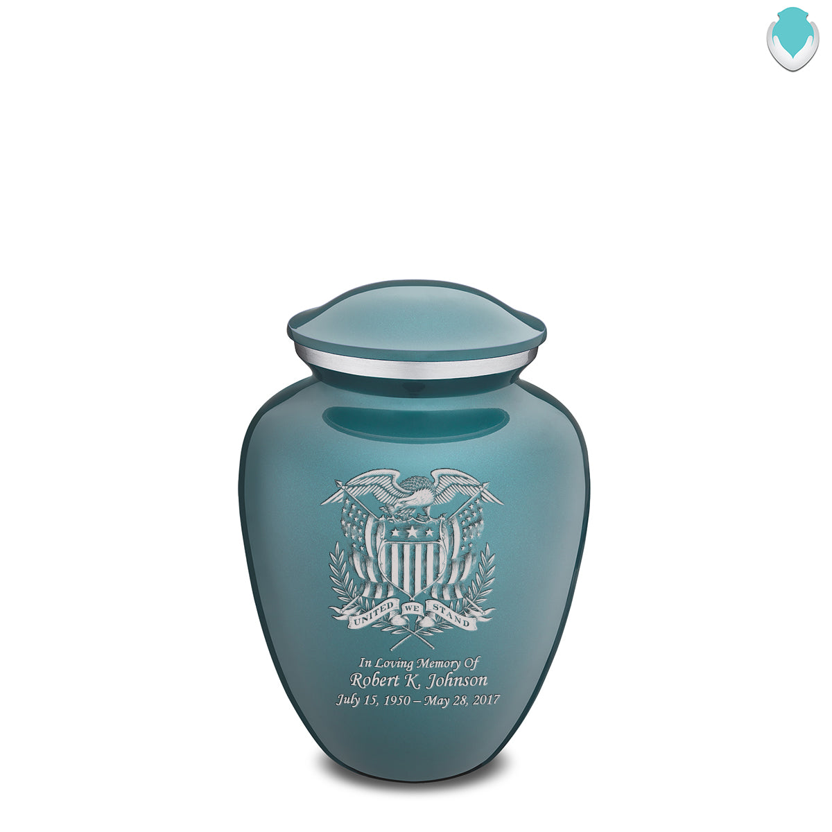 Medium Embrace Teal American Glory Cremation Urn