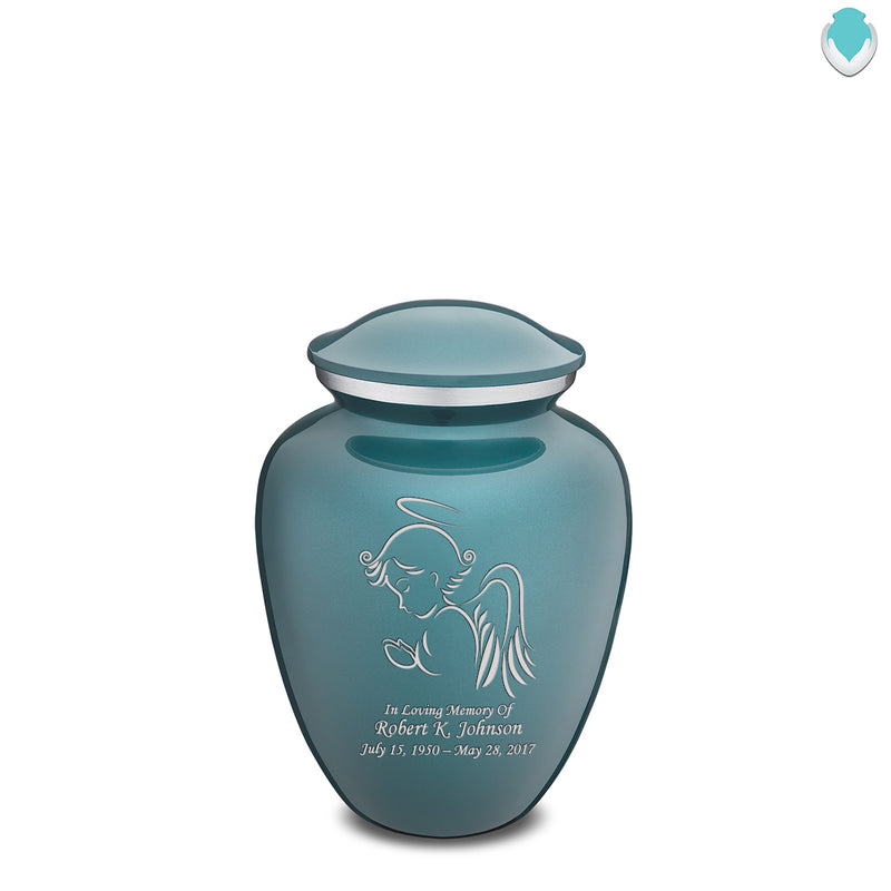 Medium Teal Embrace Angel Cremation Urn