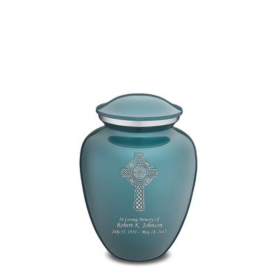 Medium Embrace Teal Celtic Cross Cremation Urn