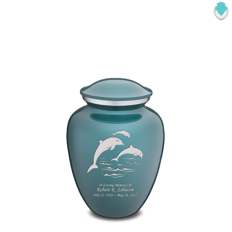 Medium Teal Embrace Dolphins Cremation Urn