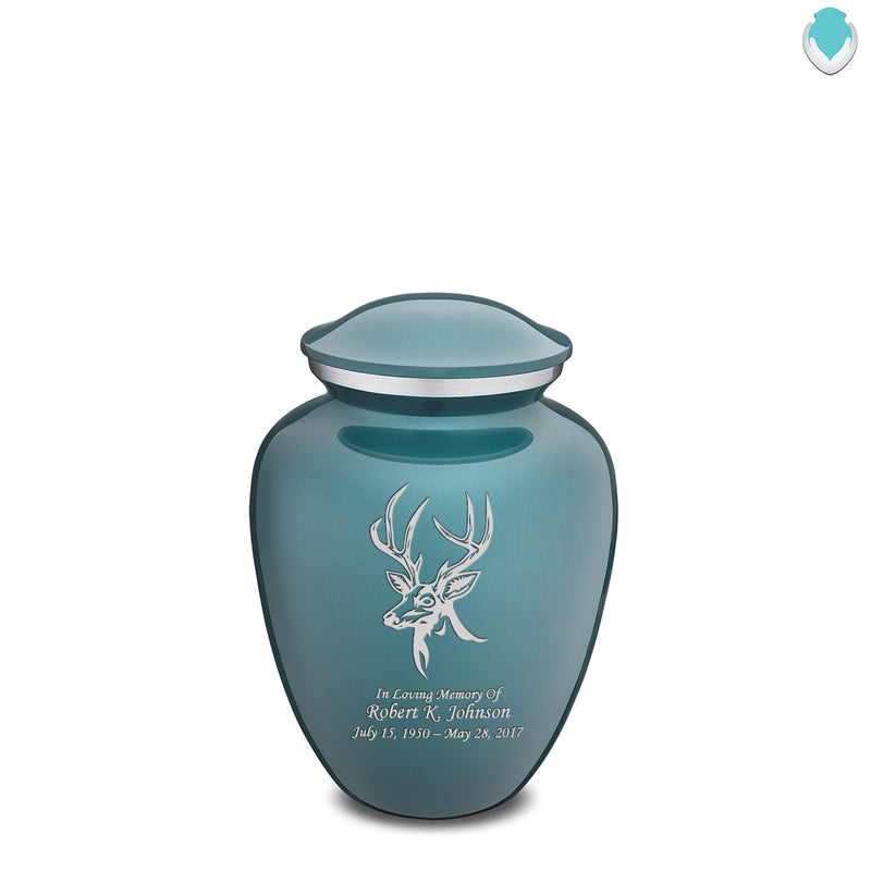 Medium Embrace Teal Deer Cremation Urn