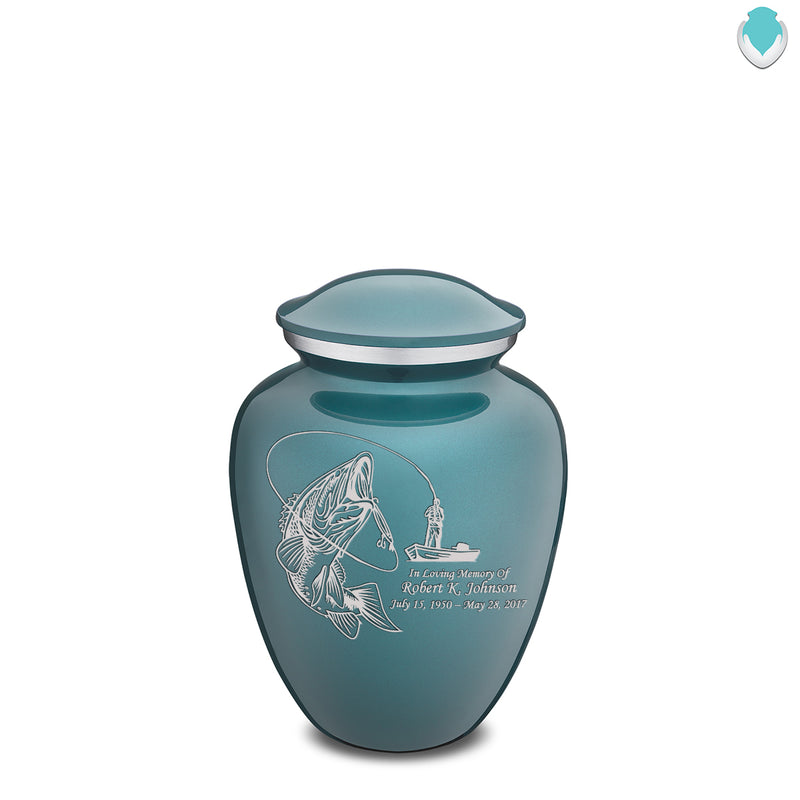 Medium Teal Embrace Fishing Cremation Urn