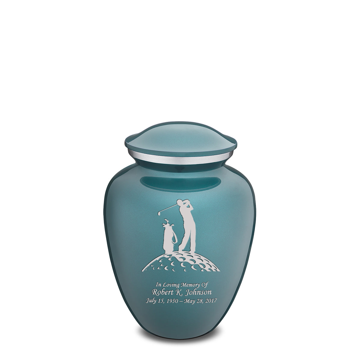 Medium Teal Embrace Golfer Cremation Urn