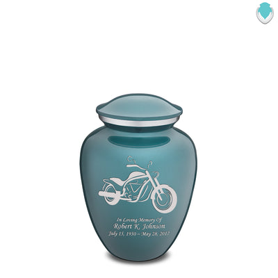 Medium Embrace Teal Motorcycle Cremation Urn