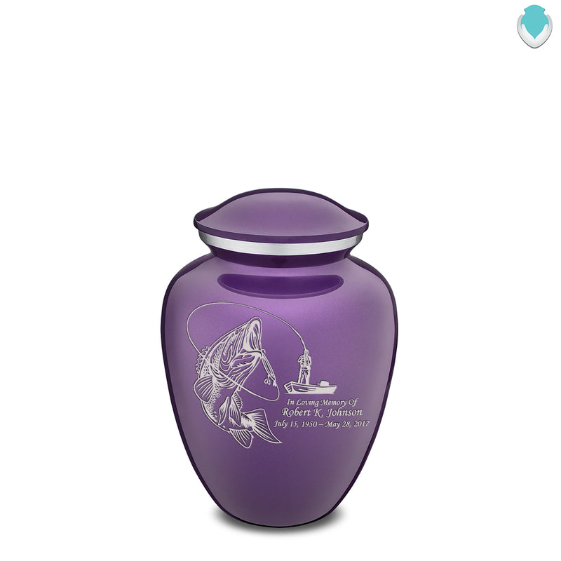 Medium Purple Embrace Fishing Cremation Urn
