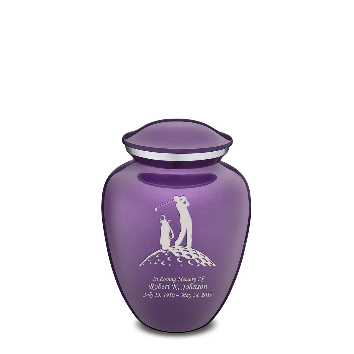 Medium Purple Embrace Golfer Cremation Urn