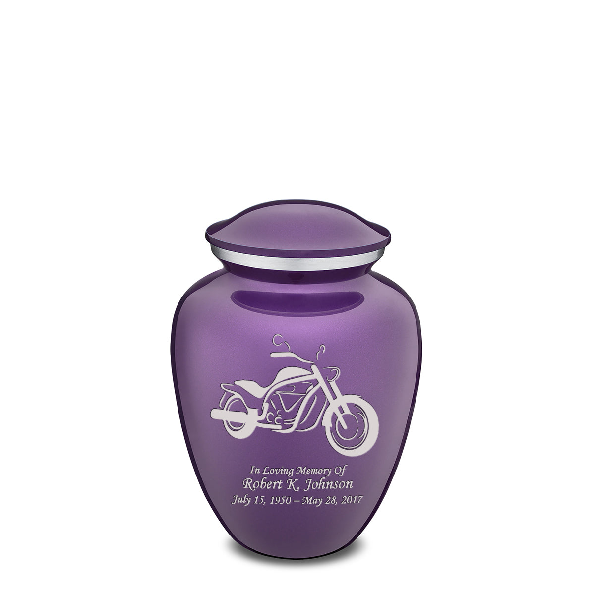 Medium Embrace Purple Motorcycle Cremation Urn