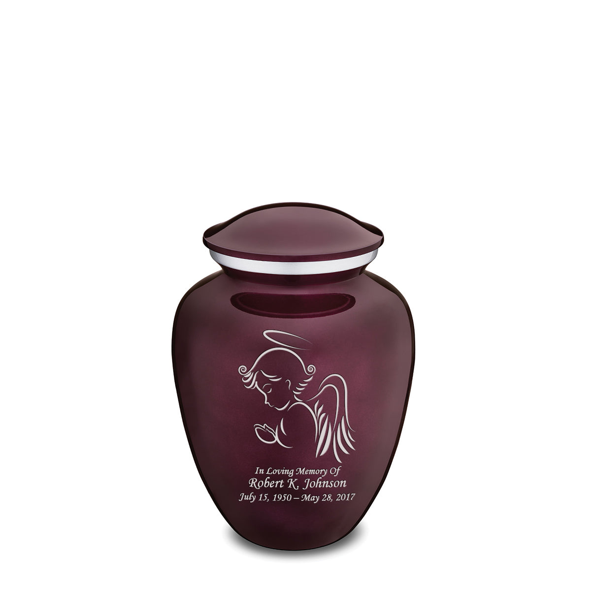 Medium Cherry Purple Embrace Angel Cremation Urn