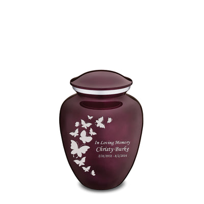 Medium Embrace Cherry Purple Butterfly Cremation Urn