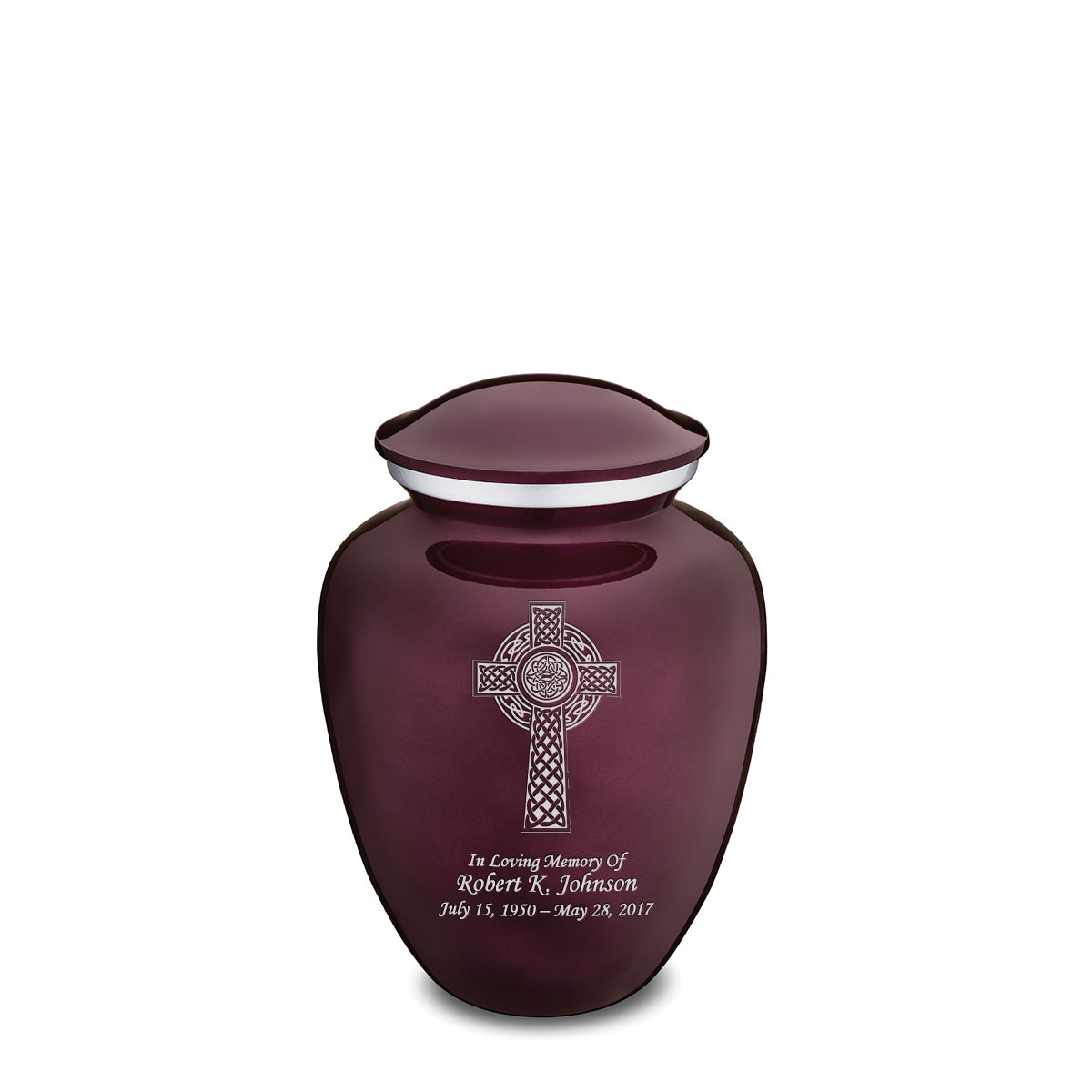 Medium Embrace Cherry Purple Celtic Cross Cremation Urn