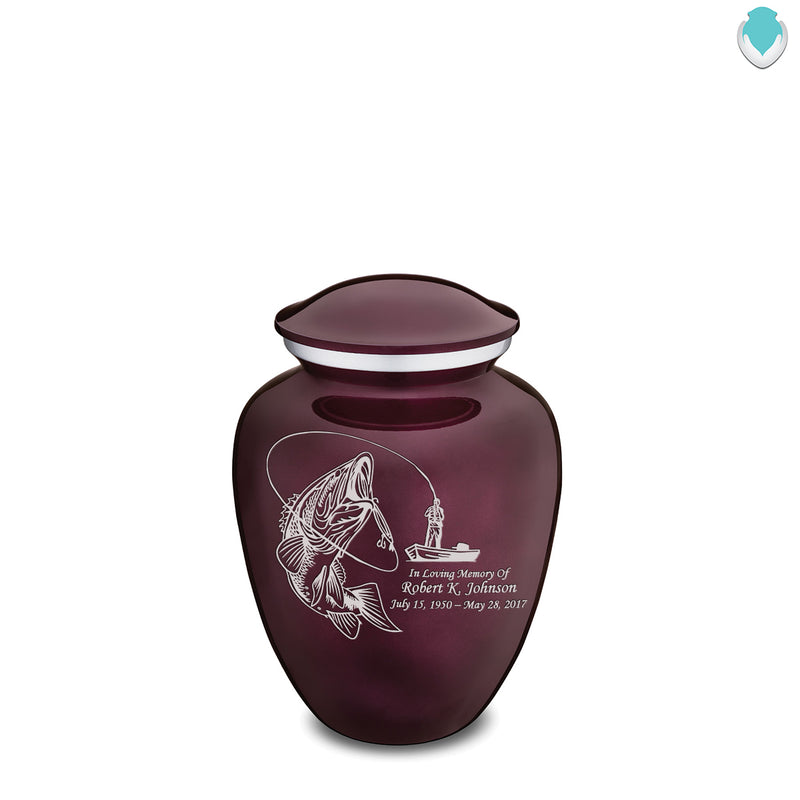 Medium Cherry Purple Embrace Fishing Cremation Urn
