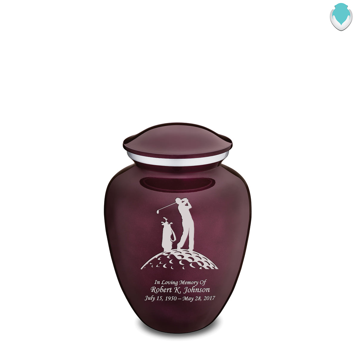 Medium Cherry Purple Embrace Golfer Cremation Urn