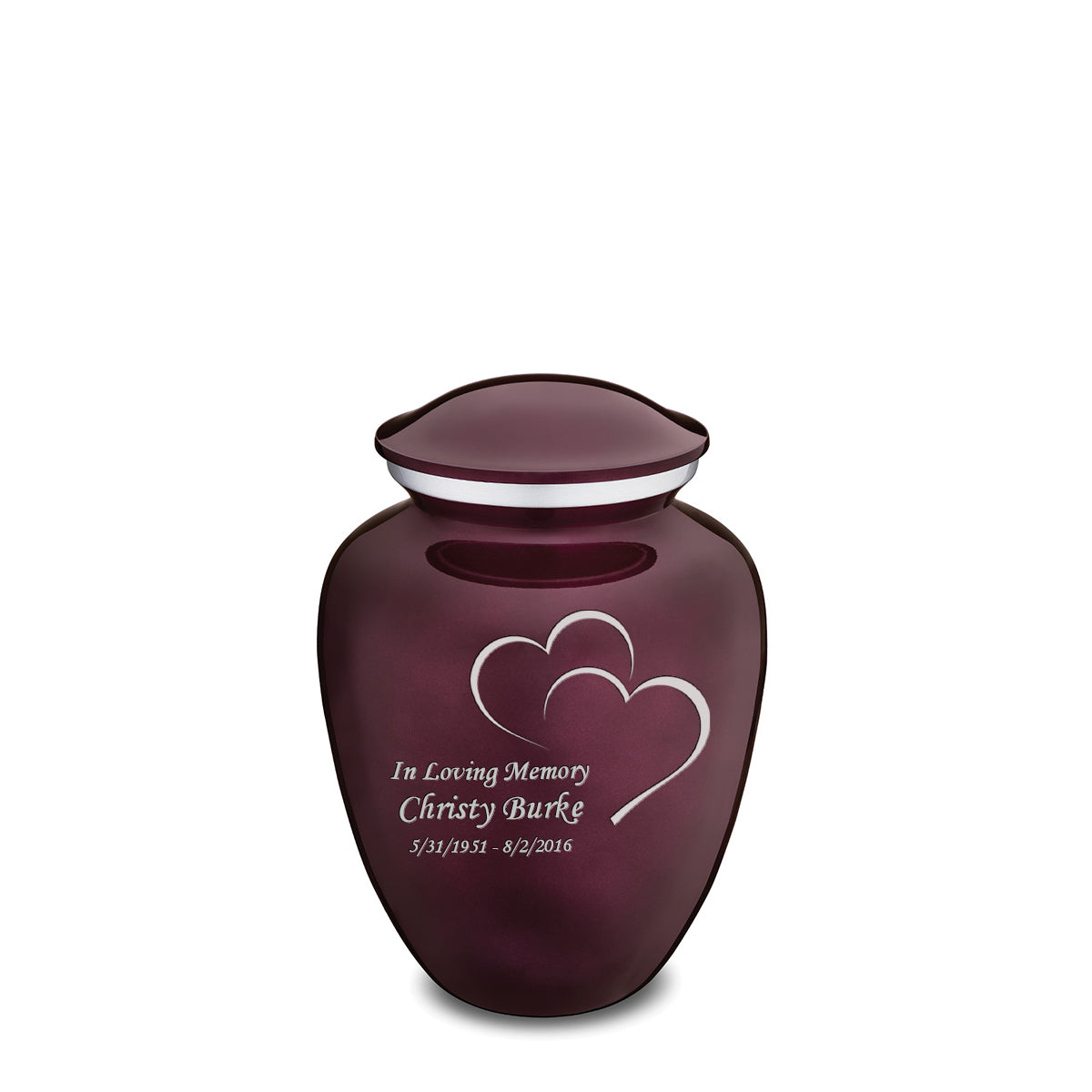 Medium Cherry Purple Embrace Hearts Cremation Urn