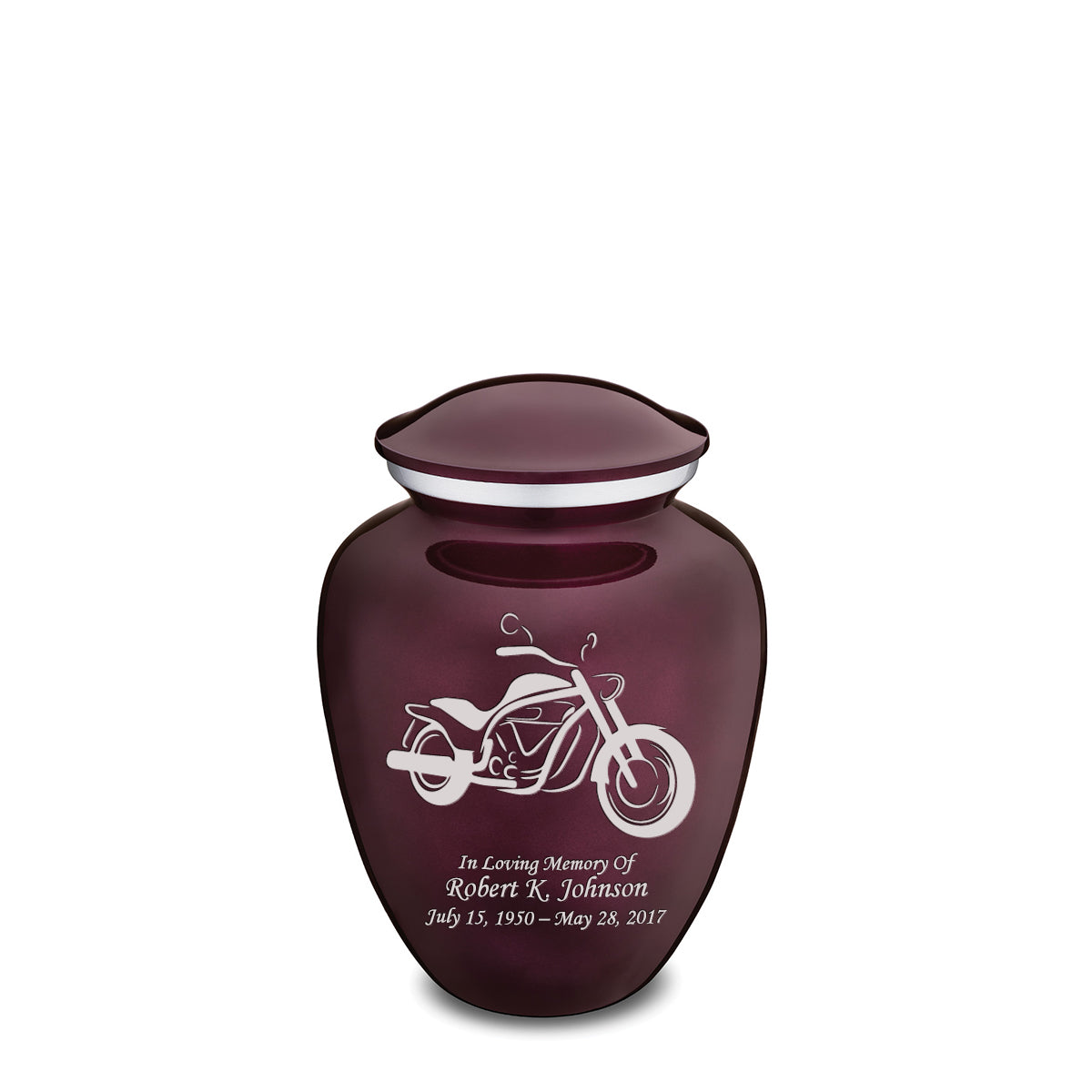 Medium Embrace Cherry Purple Motorcycle Cremation Urn