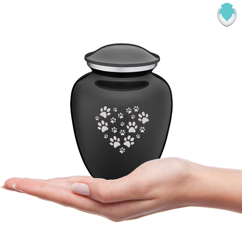Medium Embrace Charcoal Heart Paws Pet Cremation Urn