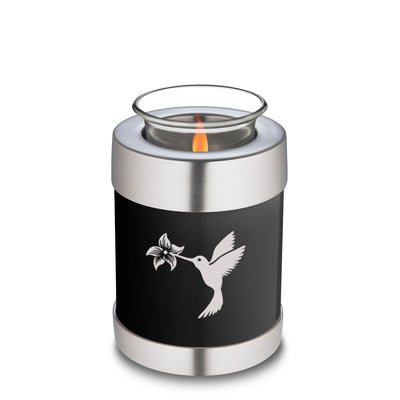 Candle Holder Embrace Hummingbird Black Cremation Urn