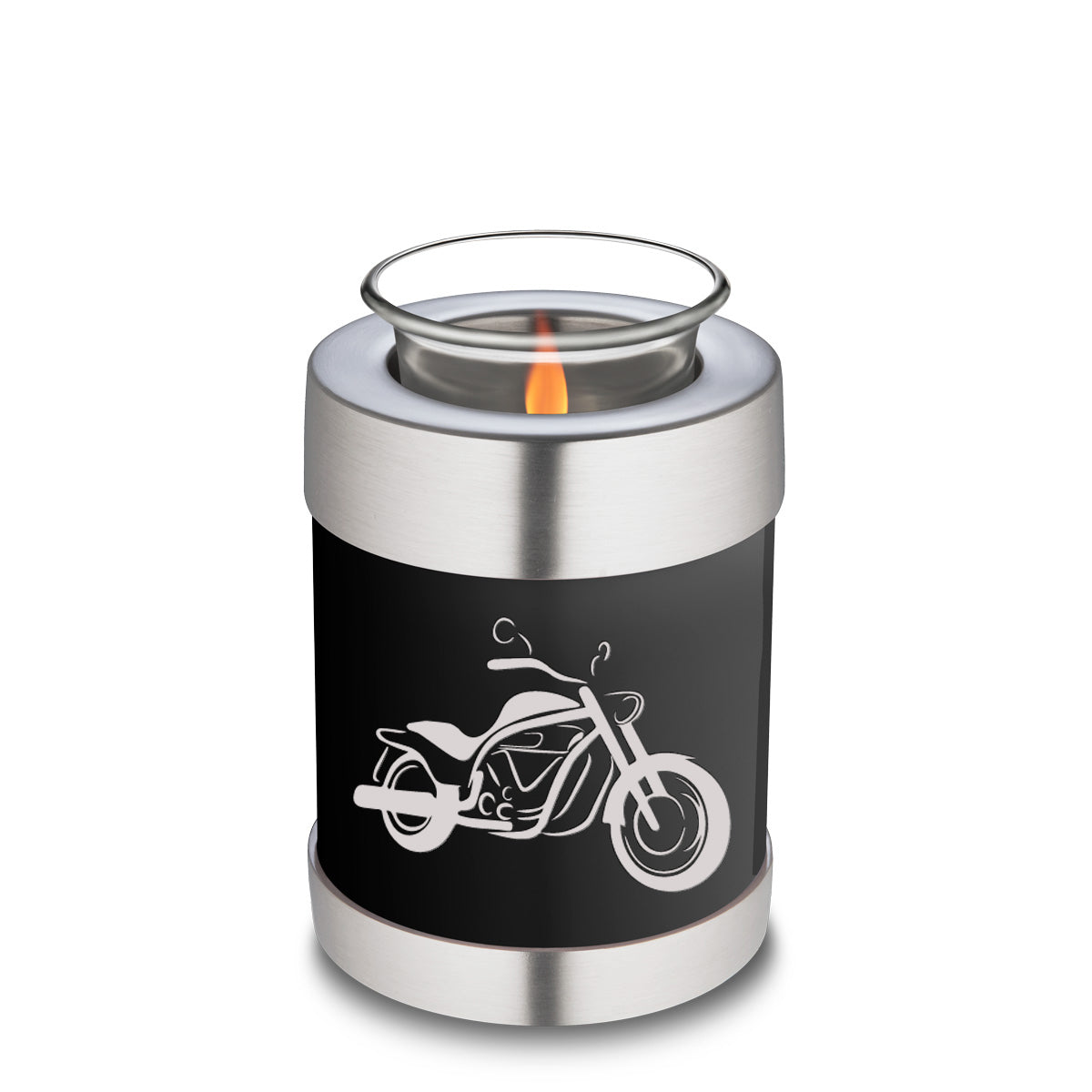 Candle Holder Embrace Black Motorcycle Cremation Urn