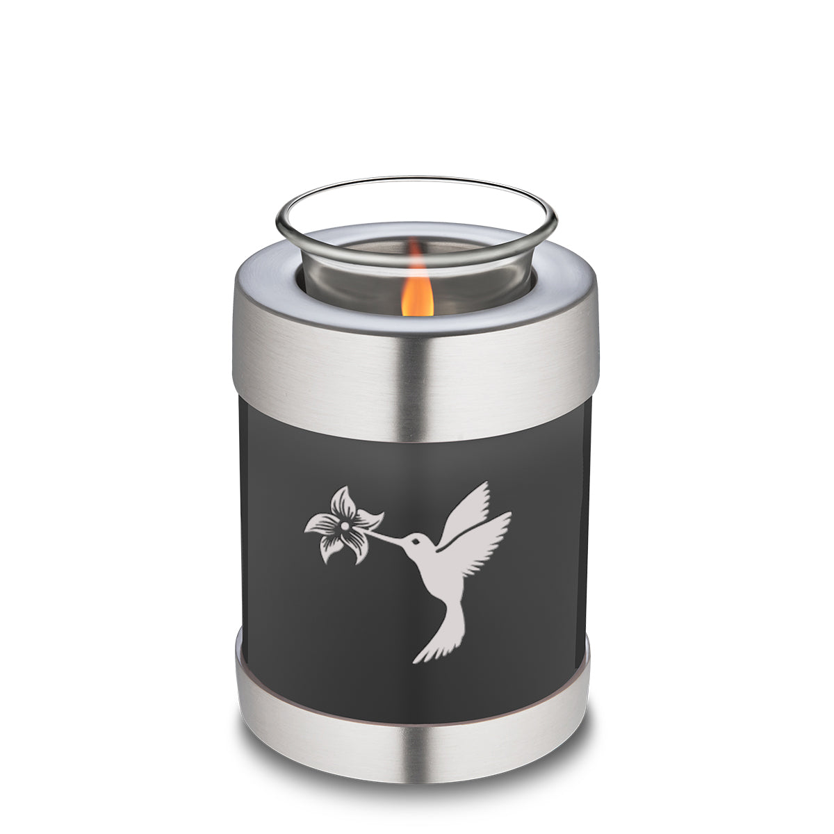 Candle Holder Embrace Hummingbird Charcoal Cremation Urn