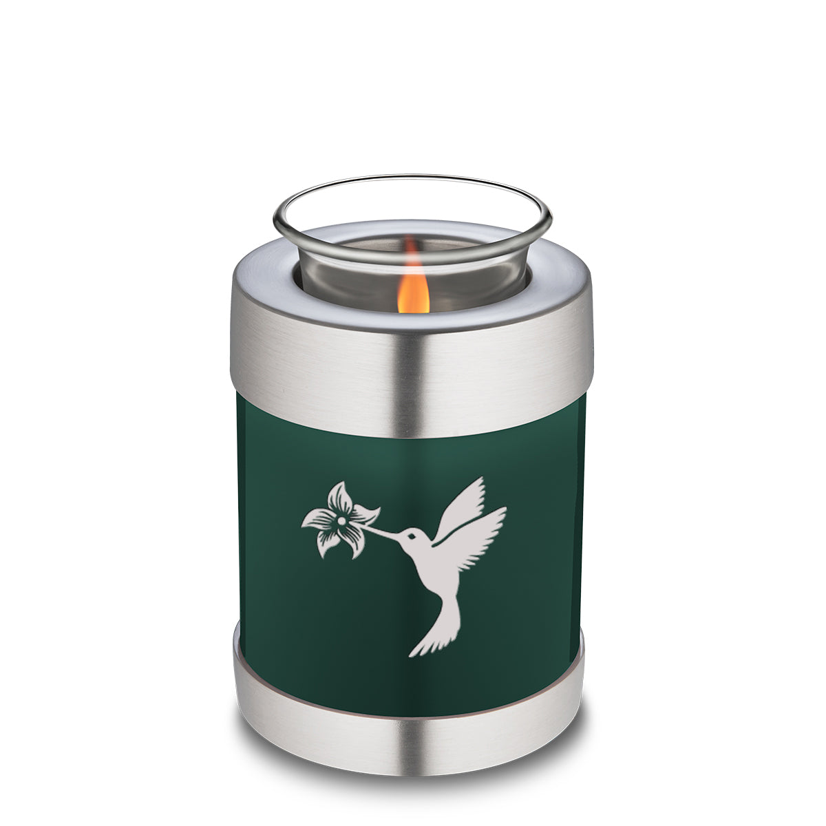 Candle Holder Embrace Hummingbird Green Cremation Urn