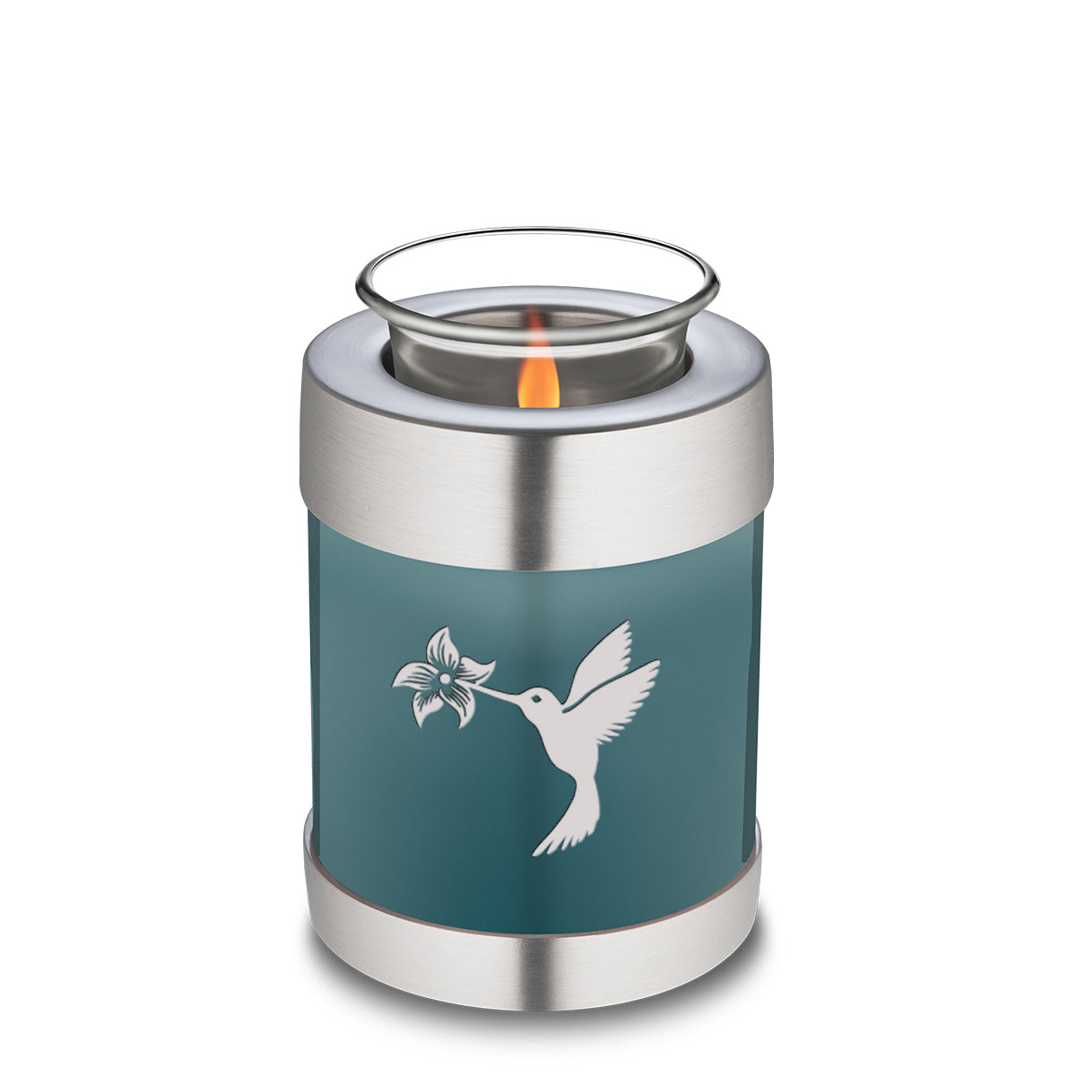 Candle Holder Embrace Hummingbird Teal Cremation Urn