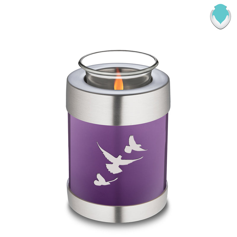 Candle Holder Embrace Doves Matte Purple Cremation Urn