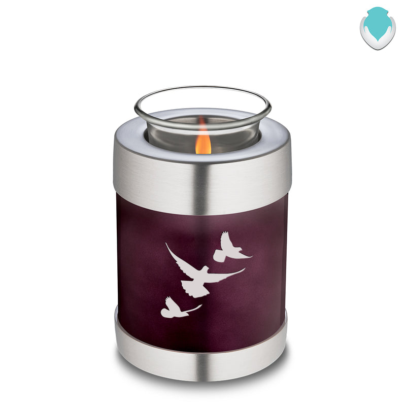 Candle Holder Embrace Doves Cherry Purple Cremation Urn