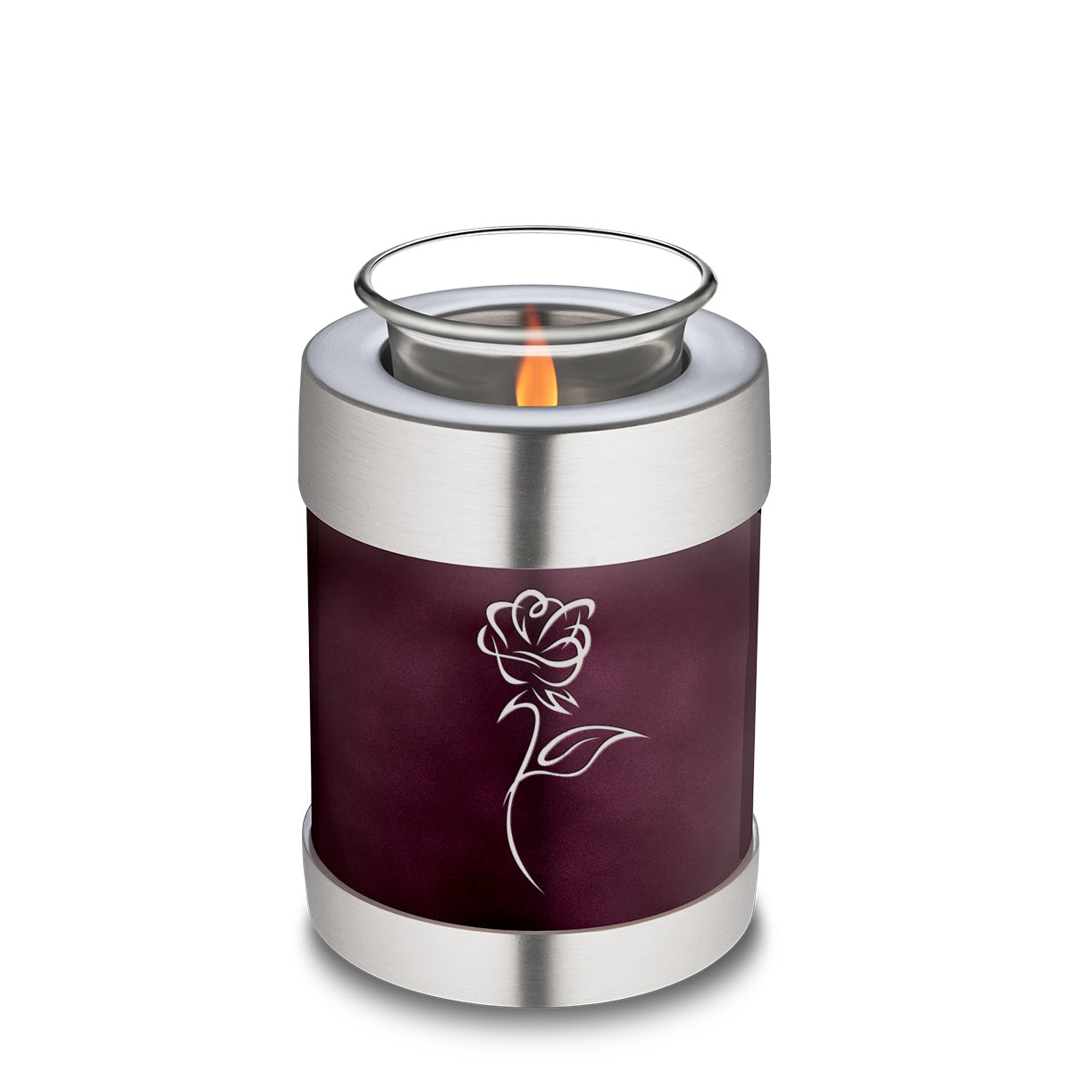 Candle Holder Embrace Rose Cherry Purple Cremation Urn