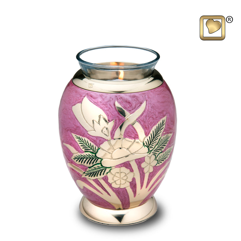 Tealight Lilac Rose Cremation Urn