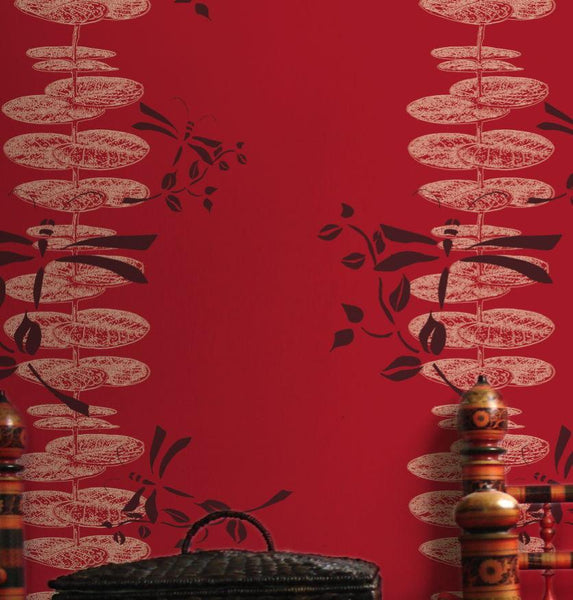 Dina - Red Wallpaper Wallcovering