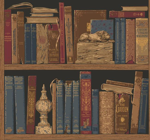 Classic Book Shelf Wall Paper - 02