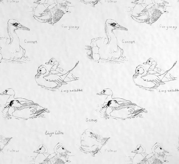 Edwyn Ducks White Wallpaper Wallcovering
