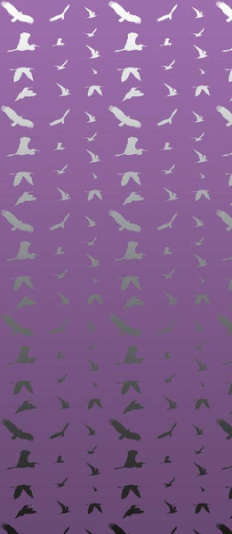 Fiona's Flying Bird Wall Mural - Purple and White Textured Vinyl