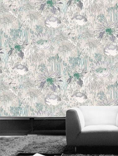 Flower Power - Pastel Pattern Printed Wallpaper- Green