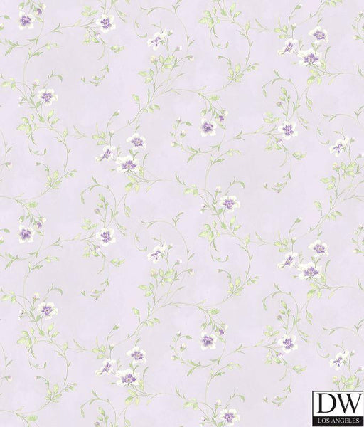 Capri Lavender Floral Scroll Wallpaper